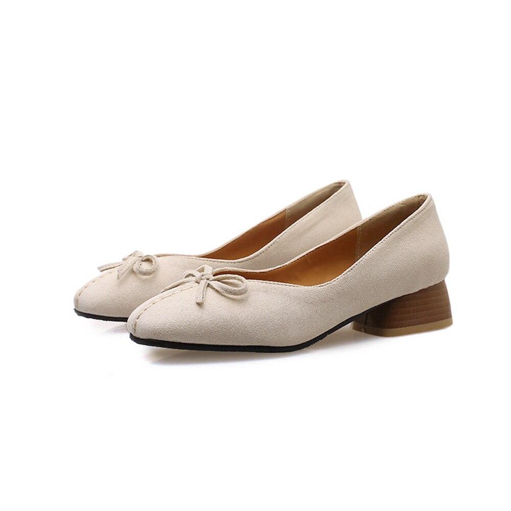 Women Pumps High Quality Flock S Apricot Black Beige woman shoes Pumps for Ladies Plus Big Size 11.5 P ASCP 19 4