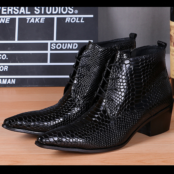Fashion Designer Formal Men Shoes Cowboy Ankle Boots Genuine Leather Black Men Dress Boots Lace Up Motorcycle Boots Men Big Size