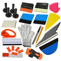 3M Blue Squeegee Gloves Razor Scraper With 100pcs Plastic BladesPro Vinyl Wrap Tools Kit Squeegee Applicator