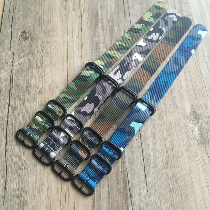 MERJUST Quality Nato Strap 18MM 20MM 22MM 24MM Camo Blue Army Green Nylon Watch Band  For Military Watch Wristband Bracelet