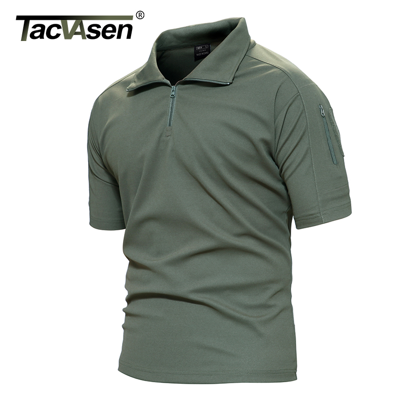 TACVASEN Men Breathable Summer Military T-Shirt Army Combat Men T Shirt New Brand Turn-Down Collar Top Men TD-YCXL-016