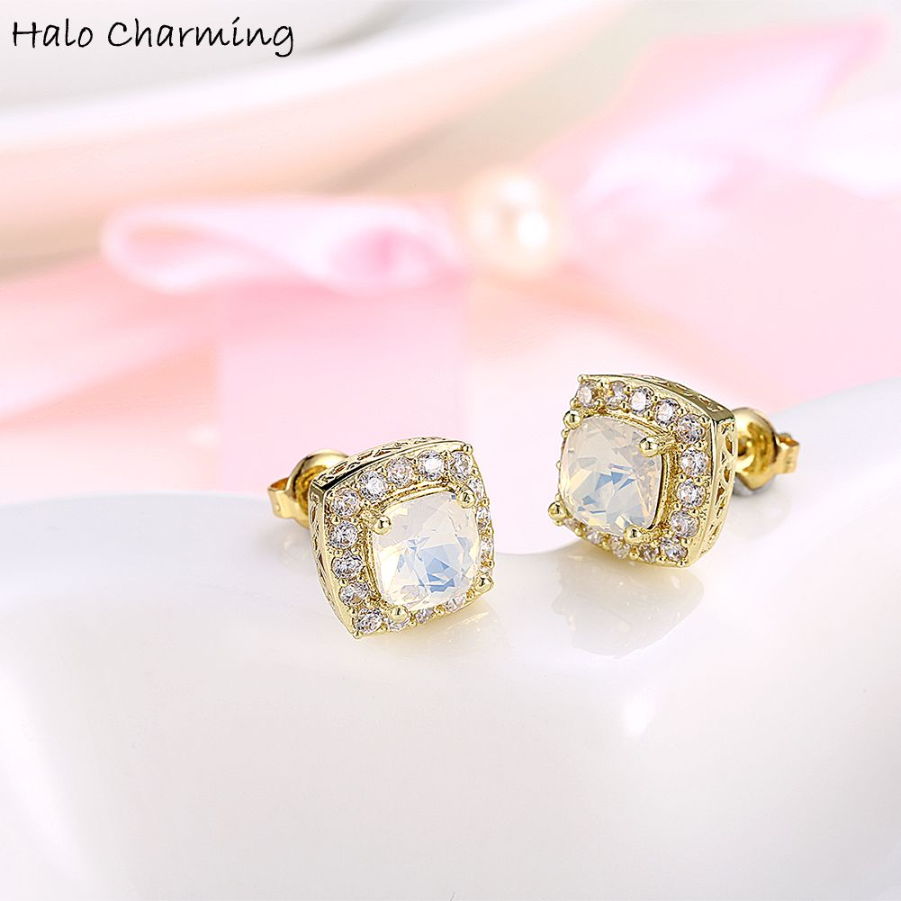pave zoom screw back earrings gold diamond square wide white stud set shaped
