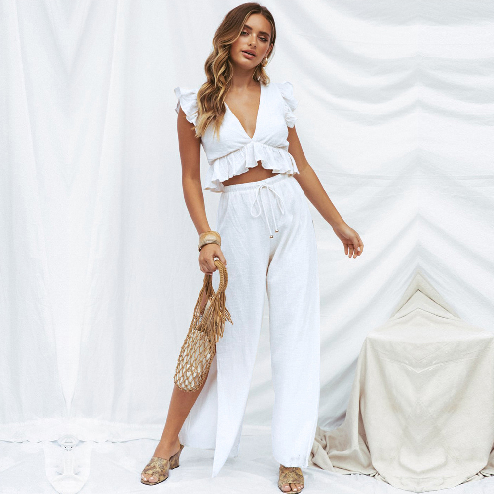 Women Wide Leg Crop Top+pants Sexy Flounce Sleeve Midriff-baring Chiffon Casual Two-piece Set Vest Slit Side V Neck Summer