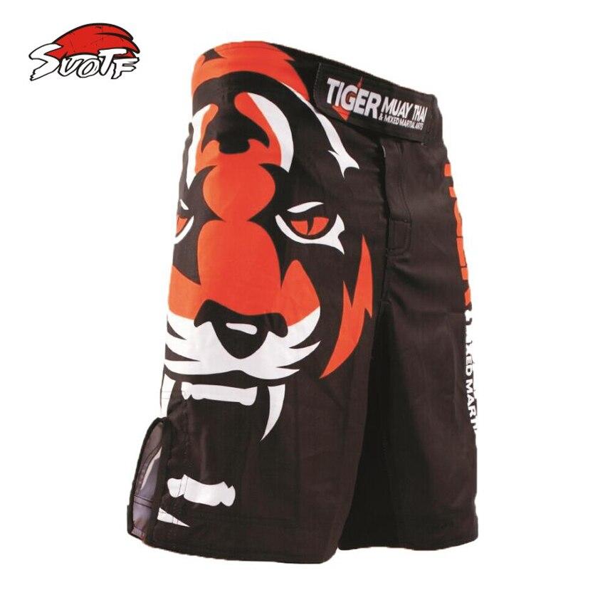 SUOTF Le nouveau 2015 tigres impression MMA lâche de boxe muay Thai short Sueur à séchage rapide lutte formation Mondiale livraison gratuite