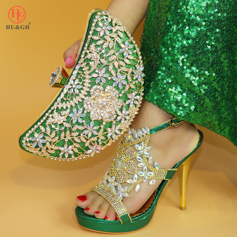 New Hot sales Green high heel Women sandal shoes with matching clutches bag free shipping italian shoes and bag set For Wedding cd158 1 free shipping hot sale fashion design shoes and matching bag with glitter item in black