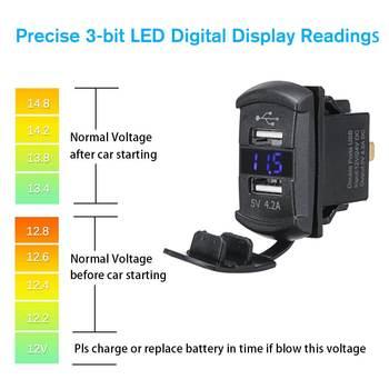 12V Blue/Red LED USB Charger Backlit Rocker Switch for Polaris RZR Ranger 900 1000 RZR900 Digital Voltmeter Blue LED Light