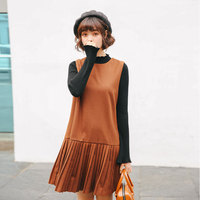 New Cute Women dress Sleeveless Slim Woolen Cloth Vest Pleated Students Render Firm Offers Dresses Gray Caramel Color S870