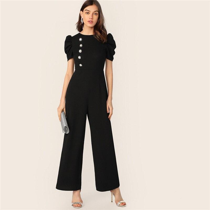SHEIN Button Embellished Puff Sleeve Wide Leg Jumpsuit Elegant Spring Autumn Women Short Sleeve High Waist Jumpsuit 7