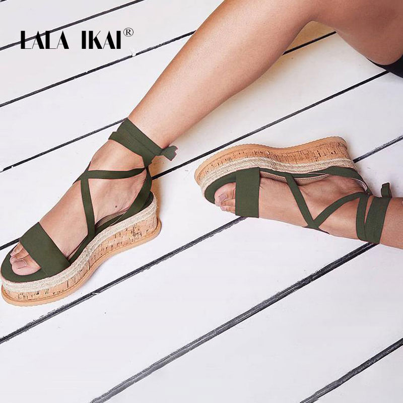0b47fe29c63 US $24.99 45% OFF LALA IKAI Women Ankle Strap Wedge Sandals Summer Peep Toe  Lace Up Platform Sandals Party Shoes High Heels Sandalie 014C3414 45-in ...