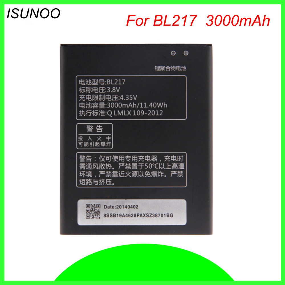 ISUNOO BL-217 BL 217 <font><b>Battery</b></font> For <font><b>Lenovo</b></font> <font><b>S930</b></font> S939 S938T BL217 3000mAh 3.8V Rechargeable Replacement <font><b>Batteries</b></font> image