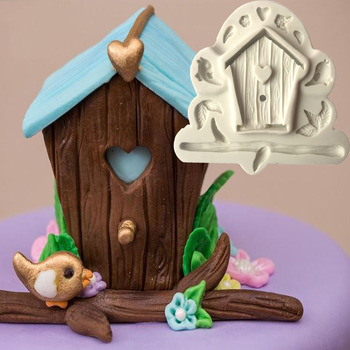 Aouke עץ בית ציפור שובך בית בצורת נוזל סיליקון עוגת עובש DIY רך חימר פונדנט חימר עובש L133