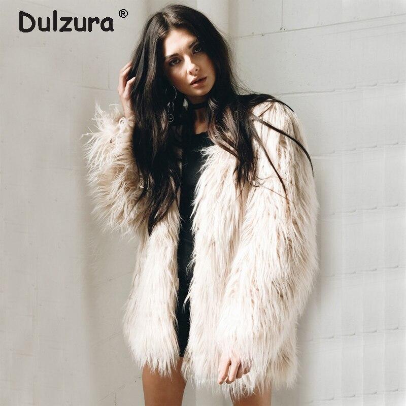 a8362a012d Fluffy Purple Long Faux Fur Coat Women 2018 Autumn Winter Fake Fur Jackets  Coats Chic Streetwear