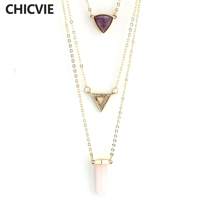 Купить chicvie треугольные многослойные ожерелья и подвески из натурального