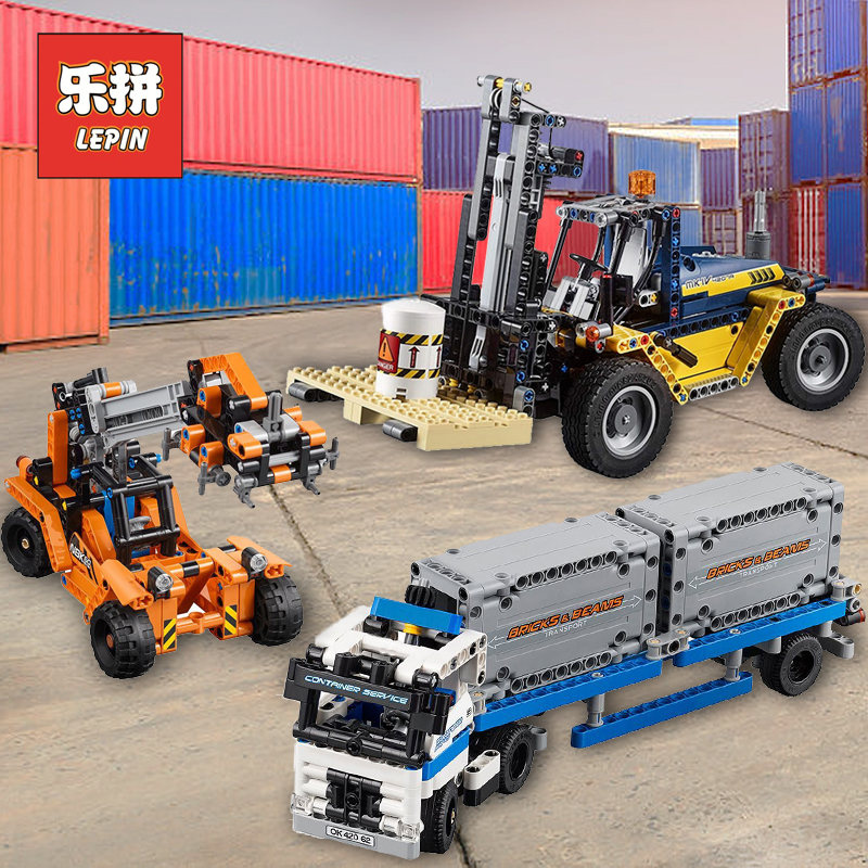 Lepin 20035 Technic the Container Trucks Loaders Set 20082 Forklift Truck 42079 Model Building Blocks Legoinglys Children Toy lepin 20035 new 631pcs technic series the container trucks and loaders set building blocks bricks educational toys with 42062