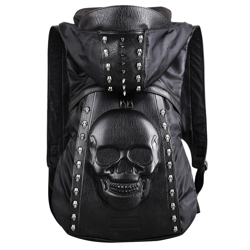 Fashion Personality 3D Skull Leather Backpack Rivets Skull Backpack With Hood Cap Apparel Bag Cross Black