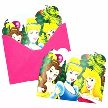 6pc/set Princess Party Supplies Invitation Card Children Birthday Kids Favors