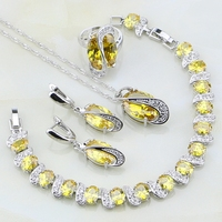 Trendy Yellow White Created Topaz 4PCS Sterling Silver Jewelry Sets For Women Wedding Earring Pendant Necklace