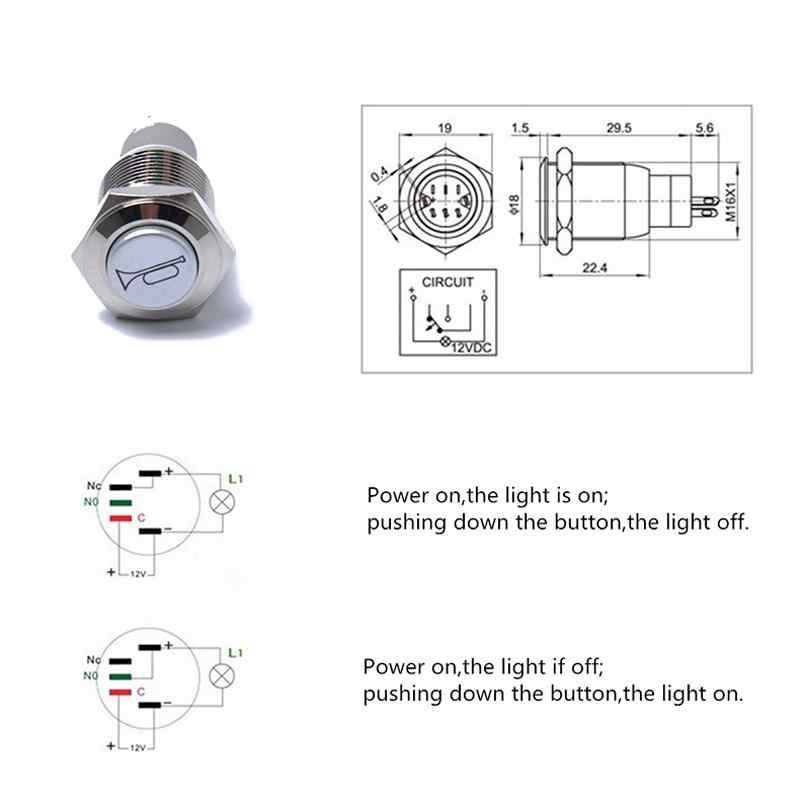 16 мм водонепроницаемый мгновенный рога колонки колокольчики металлическая кнопка переключатель светодиодный Рабочее напряжение 12 В DC кнопочный переключатель r30