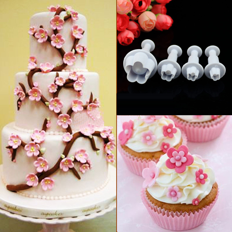 4 Pcs/set Flower Plunger Cutter Gum Fondant Cake Decorating SugarCraft Plunger mold Home ...
