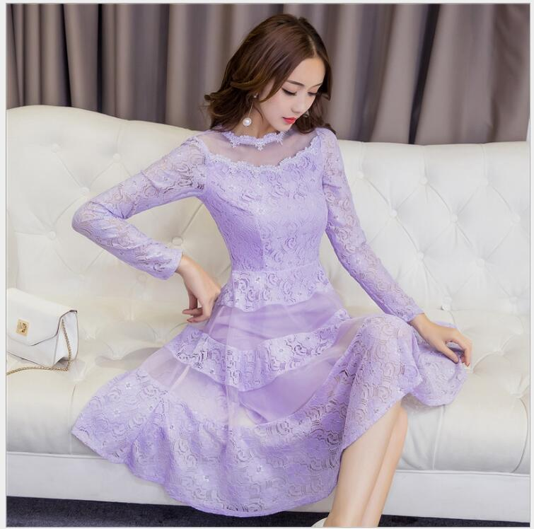 2017 autumn new Korean lace backing dress long-sleeved splicing European root yarn A word fashion elegant Sexy Cute flare