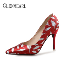 Women Wedding Shoes High Heels Leather Brand Woman Pumps Spring Autumn Pointed Toe Female Party Shoes Gold Sliver Plus Size 2019 цена и фото