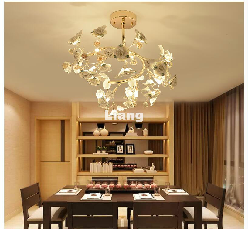 New Arrival Gold Floral G4 D60cm Crystal Ceiling Lamp Crystal Bedroom Luminarias Home Decor Creative LED Crystal Ceiling Lamp