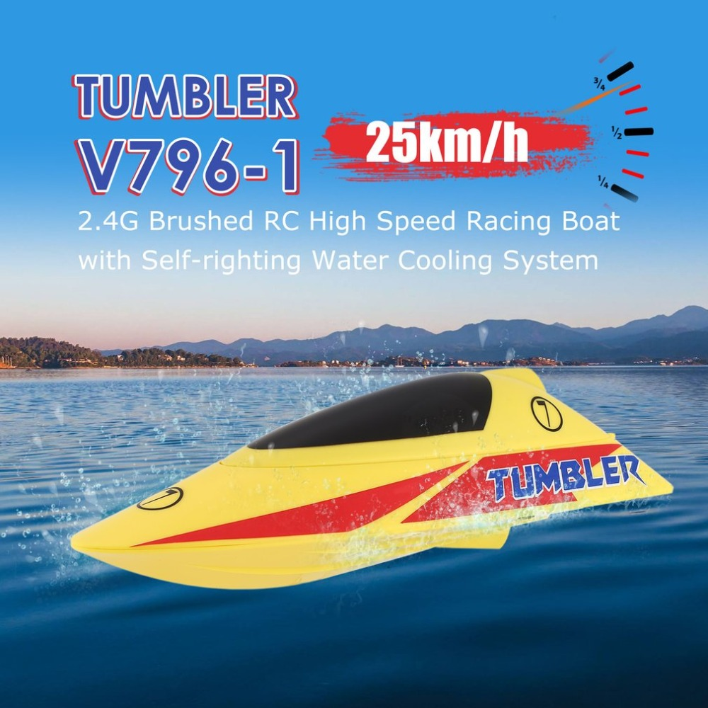 TUMBLER V796-1 25km/h 2.4G Brushed High Speed RC Racing Boat Speedboat Ship with Water Cooling System Self-righting Kids Gift цена 2017