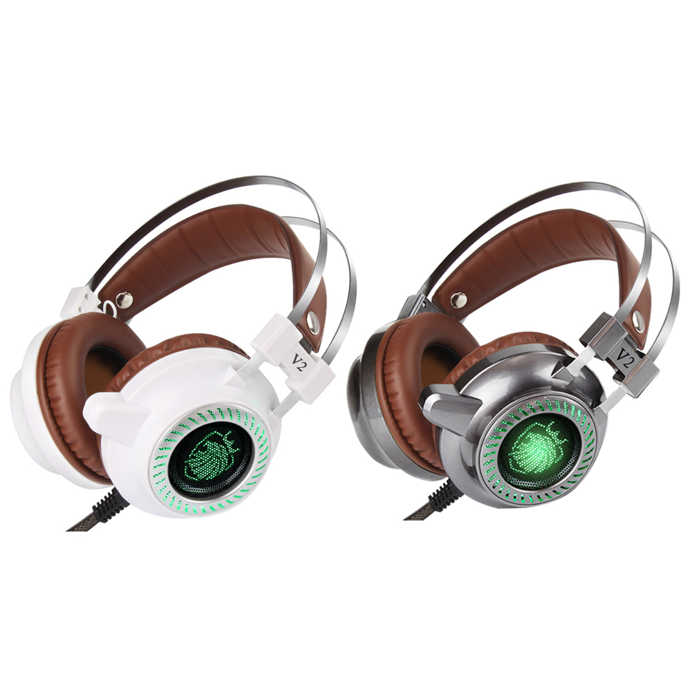 2017 New Stereo V2 Headphones Earphones Subwoofer Gaming Headset With Mic Gamer LED Light Hi-Fi Headphone (Gray/White) гарнитура hi fun hi earphones v yellow