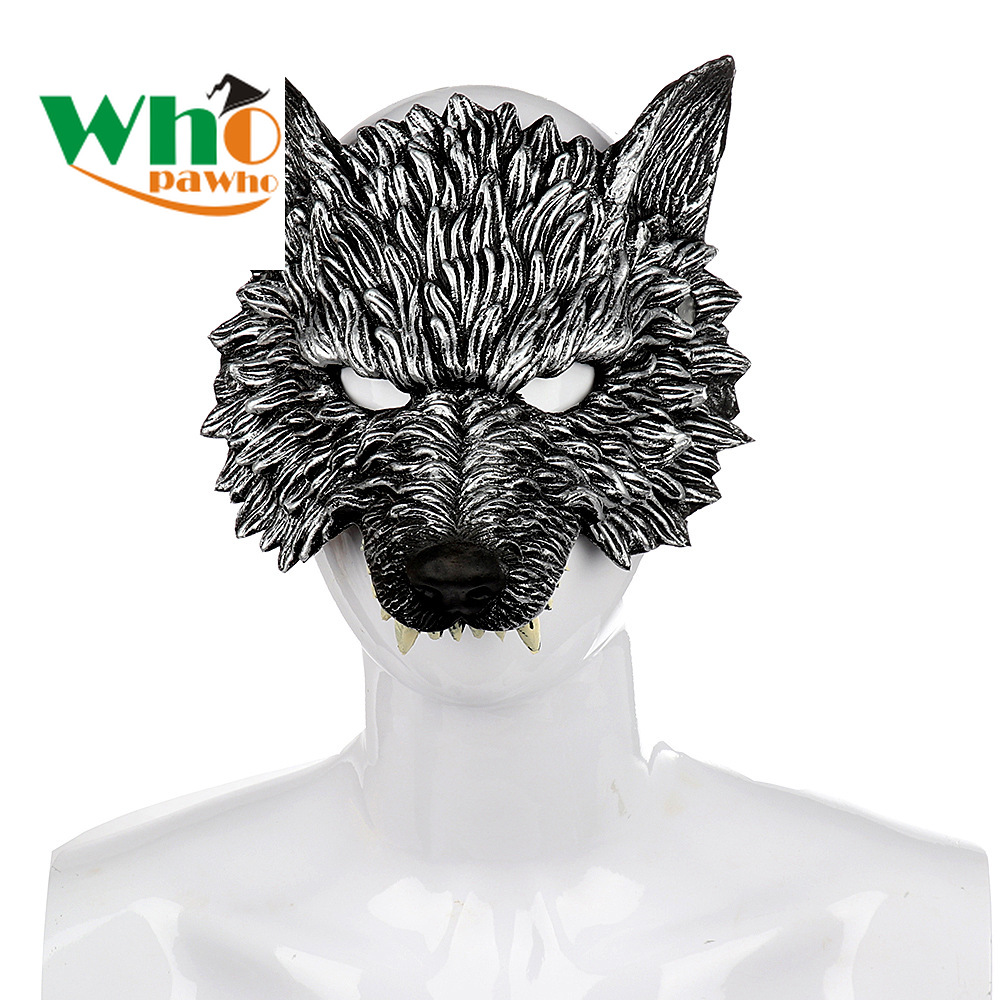 3D Wolf Mask Halloween Carnival Soft PU Foaming Cosplay Wolf Mask