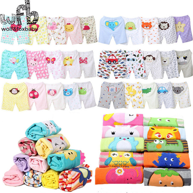 Retail 5 unids/pack 0-24months PP pantalones cortos pantalones Del Bebé ropa de recién nacido ropa Infantil de dibujos animados para niños niñas niños desgaste del verano