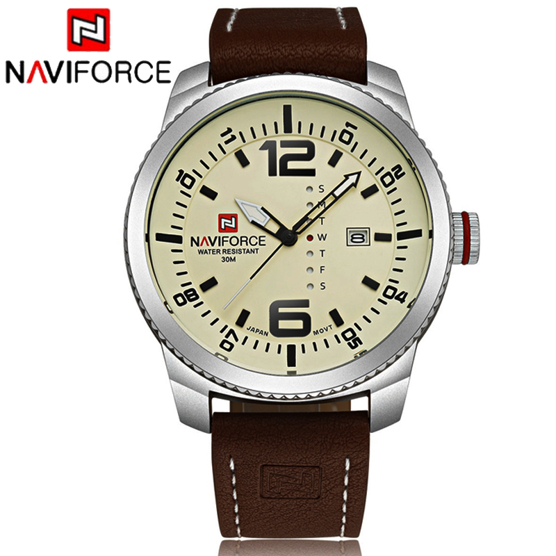 NAVIFORCE Mens Watches Top Brand Luxury Leather Relogio Fashion Quartz Wristwatch Military Casual Waterproof Clock Men Gift