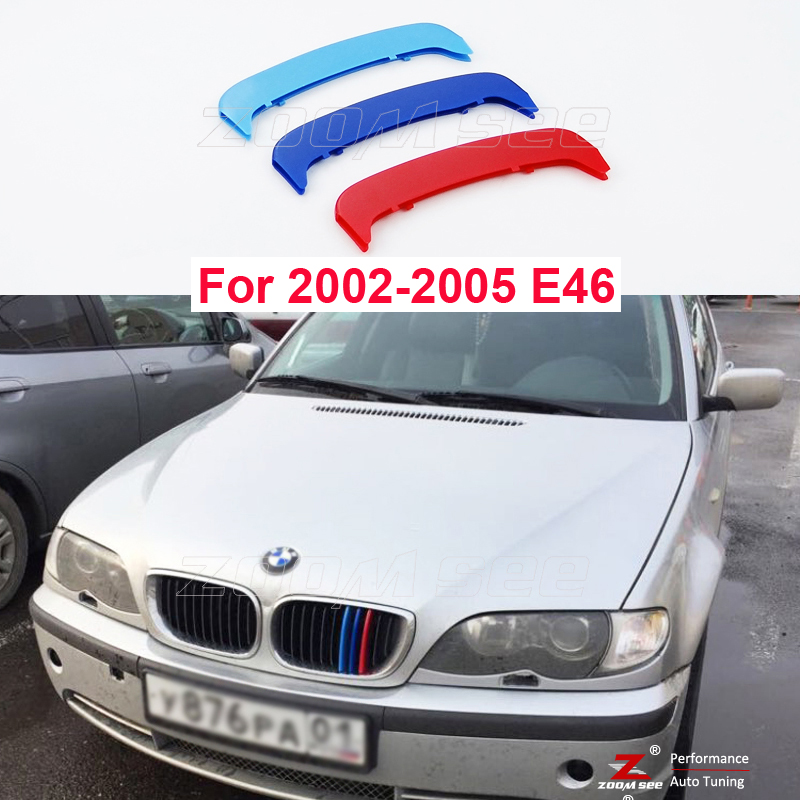 3D M Front Grille Trim plastic Strips grill Cover Sticker For 2002-2005 BMW 3 series E46 316 318 320 325 328 330 4 Door ONLY 2016 new a pair front grilles left and right double line grille gloss black front grills for bmw 3 series e46 2002 2004 4 door