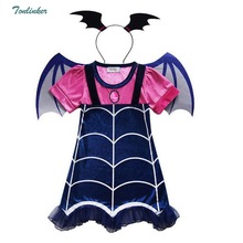 Halloween Cosplay Costumes Vampire Girls Dress With Hair Hoop Kids Fancy Party Dress Streetwear Clothes 3-8Y new girls sequins colorful party dress halloween carnival costumes unicorn fancy prom gowns girls cosplay dresses for girls 3 8y