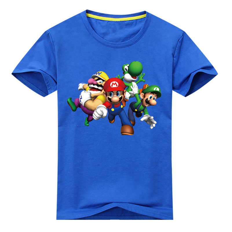 2018 New Arrivals Children Cartoon 3D Mario Print T Shirt For Boy Girls Summer Short Sleeves T-shirt Kids Cotton Tee Tops DX009 3d florals print cover placket shirt