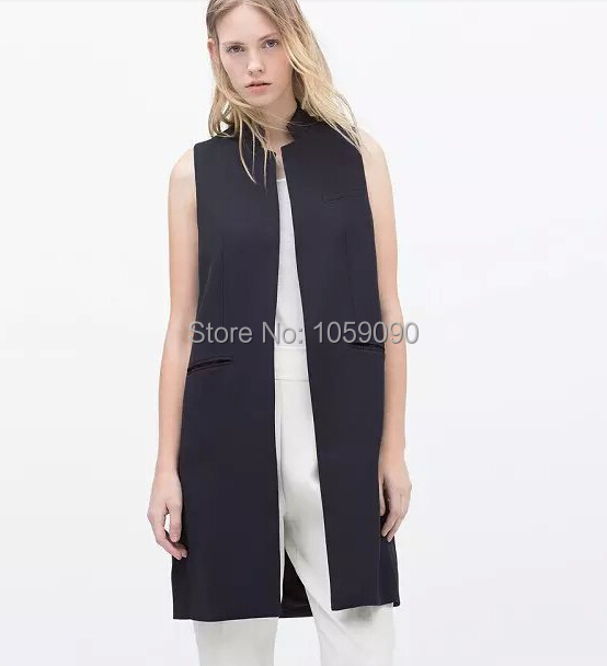 Fashion ZA 2015 Long Tailored Waistcoat Women spring summer Navy Black White 3 Colors Women Vest Open Stitch Cardigan Jacket