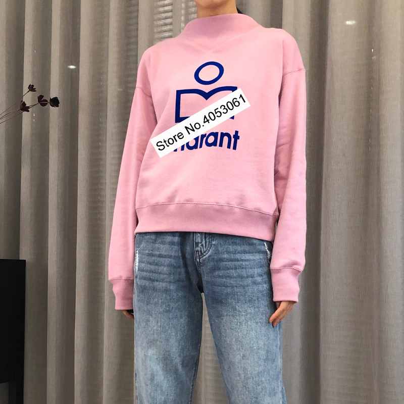 Pink Front Contrast Letter Thicken Sweatshirt Pullover   BopStyle 2019SS Women O Neck Sweatershirt Top-in Hoodies & Sweatshirts from Women's Clothing    1