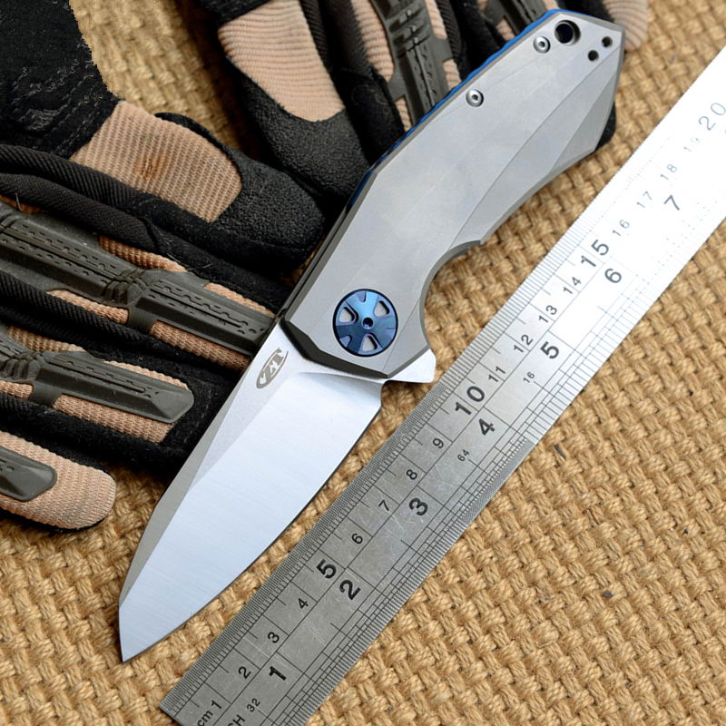 Ben 0456 Flipper folding font b knife b font steel ball bearing D2 blade Titanium handle