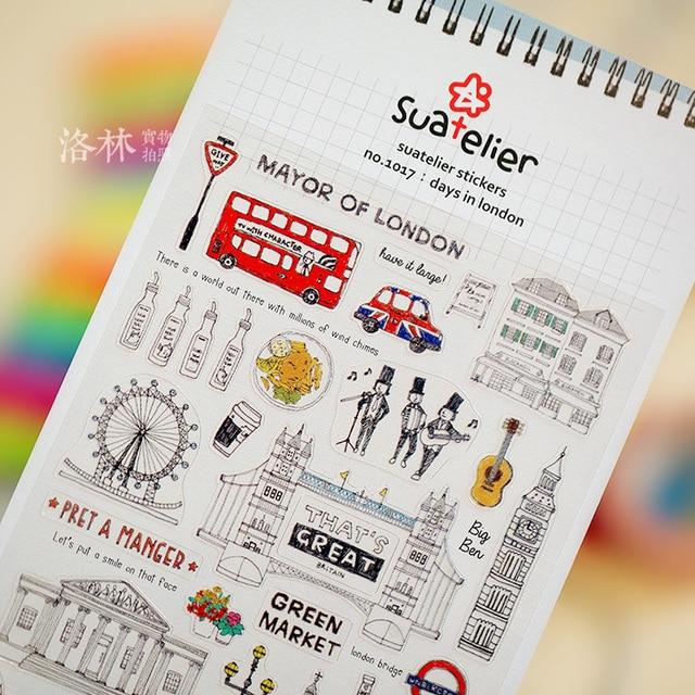 Pegatinas creativas de vacaciones de Londres calcomanías de papelería de PVC