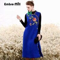 Высокая конец Осень зимнее платье старинные королевская вышивка черный/синий платье Мода Сельма леди красный вязаный шерстяной платье Цип