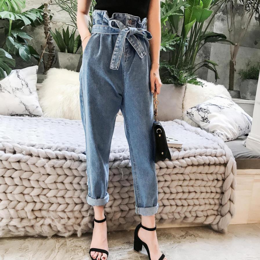 Spring Autumn Fashion Women Harem Pants Jeans Fashion Vintage Ripped High Waist Drawstring Denim Loose Jeans