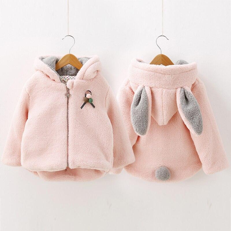 Bebek tavşan kulaklar wadded ceket 2015 kış ceket kadın çocuk çocuk giyim çocuk pamuk-yastıklı kalınlaşma giyim
