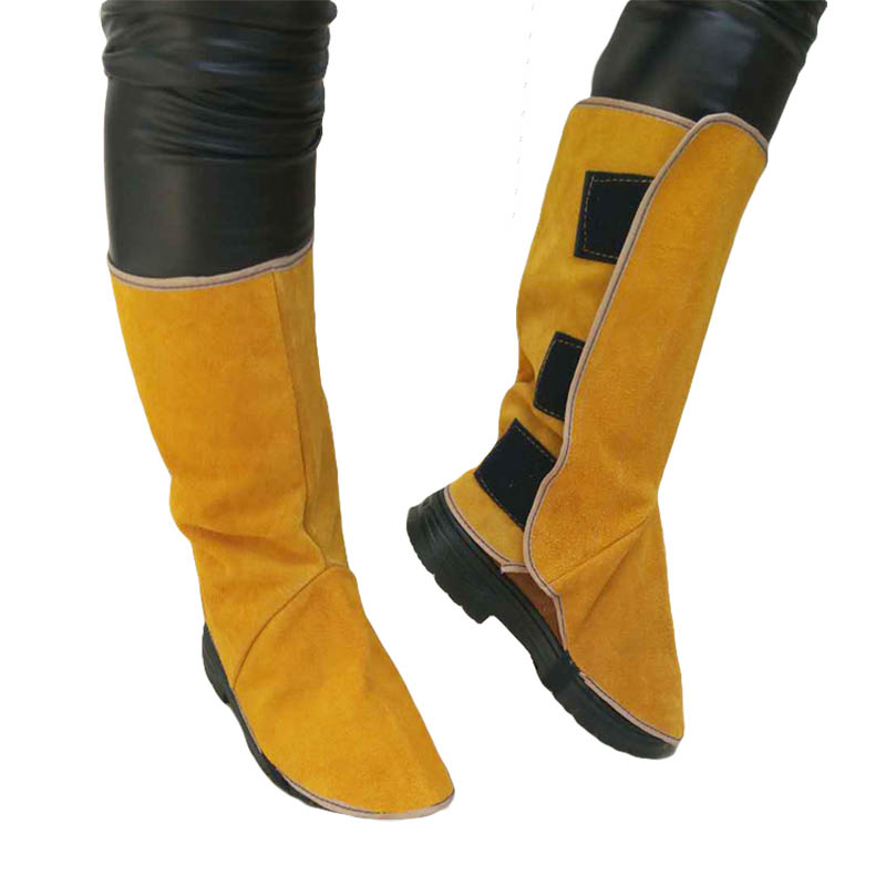 Welding Gaiter Split Leather Shoes Cover Flame Resistant Anti-Heat Wear Resistant Workplace Welder's Foots Protective Cover