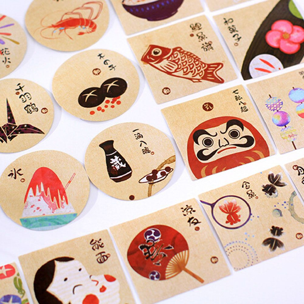 40PCS/Pack Classical Vintage Japanese Style Paper Decorative Label Sticker Sticky Scrapbooking Sticker Shcool Supply