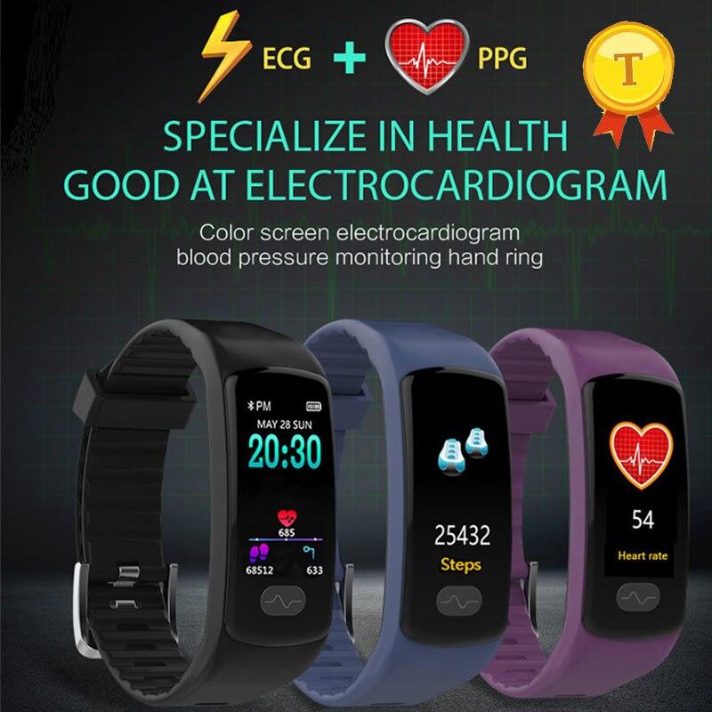 Écran couleur ECG PPG Bracelet intelligent moniteur de fréquence cardiaque Tracker de Fitness Bracelet intelligent pression artérielle bande intelligente pour ios android-in Bracelets connectés from Electronique    1