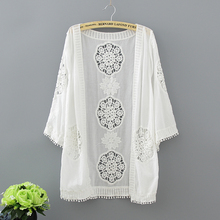 Crochet Long Kimono Cardigan Embroidery Blouse Summer 2017 Fashion Casual Women Tops Hollow Out Loose White Blouse With Tassel