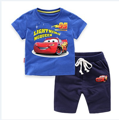 Summer Cotton Cartoon Baby Boys Children Clothing Sets 2-Piece Kids Sets Shorts + T-Shirts For 1-8 Years Old 2016 spiderman children clothing kids summer little baby cotton clothing sets t shirts and shorts casual fashional dress 0440