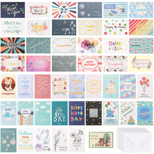 48 個で 48 個すべての日グリーティングカード封筒含む誕生日結婚式ありがとう同情カード詰め合わせパック