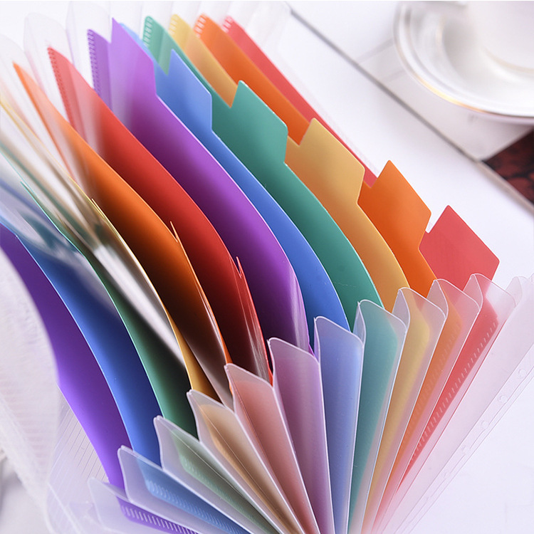 Coloffice A6 Rainbow Color Inside Document Bag Folder Students Test Paper Storage Students Kawaii Stationery School Supplies 1PC
