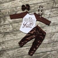 Bóng đá quần áo Mùa Thu phù hợp với bé cô gái brown boutique quần Sequins dài tay áo