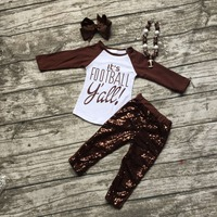 Football Clothes Fall Suit Baby Girls Brown Boutique Pants Sequins Long Sleeves It S Football With